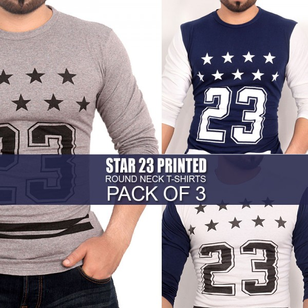 Pack Of 3 Round Neck Star T-Shirts MH-501