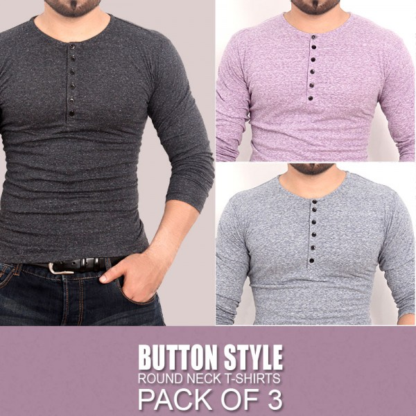 Pack Of 3 Button Style Round Neck T-Shirts MH-502