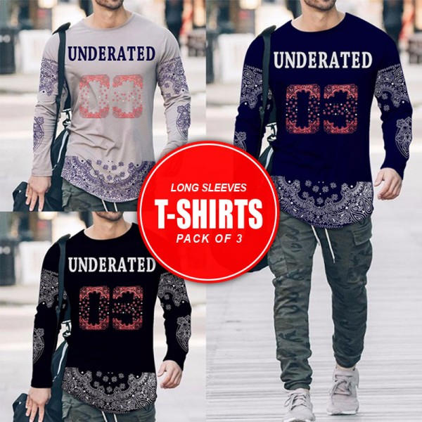 Pack Of 3 Underated Long Sleeves T-Shirts MH-513