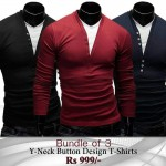 Pack Of 3 Cardigan Style Long Sleeves T-Shirts MH-507