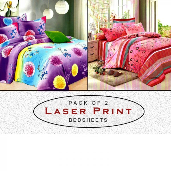 Pack Of 2 Laser Printed Cotton Bedsheets CT-093