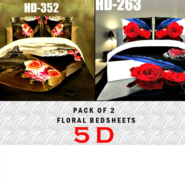 Pack Of 2 5D Floral Cotton Bedsheets ZW-323