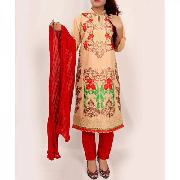 Beige Embroidered Stylish Design Ladeis suit AKG-086