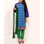 D Blue Embroidered Stylish Design Ladeis suit AKG-085