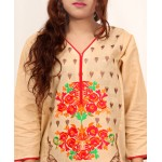 Khaki Embroidered Stylish Design Ladeis suit AKG-077