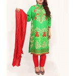 Lime Embroidered Stylish Design Ladeis suit AKG-082