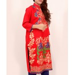 Red Embroidered Stylish Design Ladies suit AKG-072