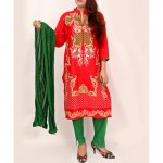 Red Embroidered Stylish Design Ladies suit AKG-070