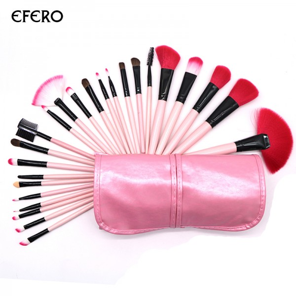 24pcs Pink Makeup Brush for Eyelashes Eyebrow Shadows Foundation Highlighter Kit