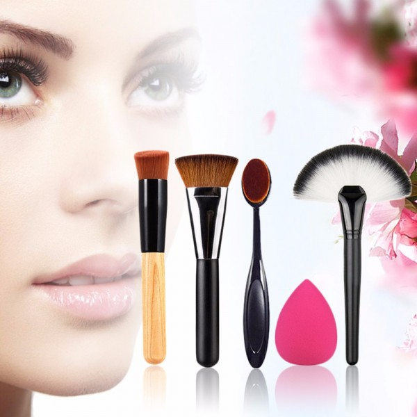 5pcs Makeup Brush Powder Blush Foundation Brush Sponge Puff Contour Brush