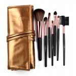 7 Makeup Brush Set Kit in Sleek Golden Leather Bag Portable Make up Brushes