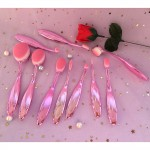 10 Pcs Professional High Quality Oval Makeup Brush Set