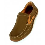 Olive Green Doted Stitched Design Slip On Shoes DR-316