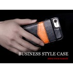 KISSCASE Black Luxury Flip Leather case for iPhone with Vertical Wallet Card Case