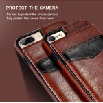 KISSCASE Brown Luxury Flip Leather case for iPhone with Vertical Wallet Card Case