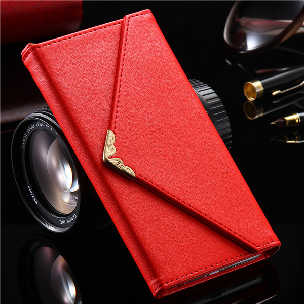 KISSCASE PU Leather Red iPhone Wallet Case