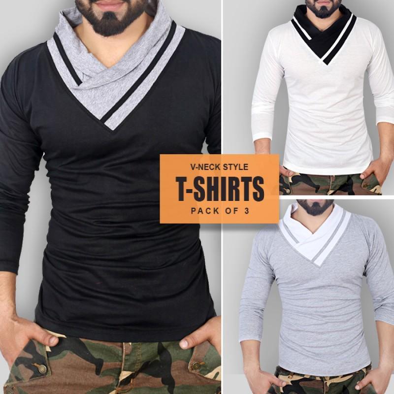 pack of 3 collar strip stylish t shirts wa 832. Black Bedroom Furniture Sets. Home Design Ideas