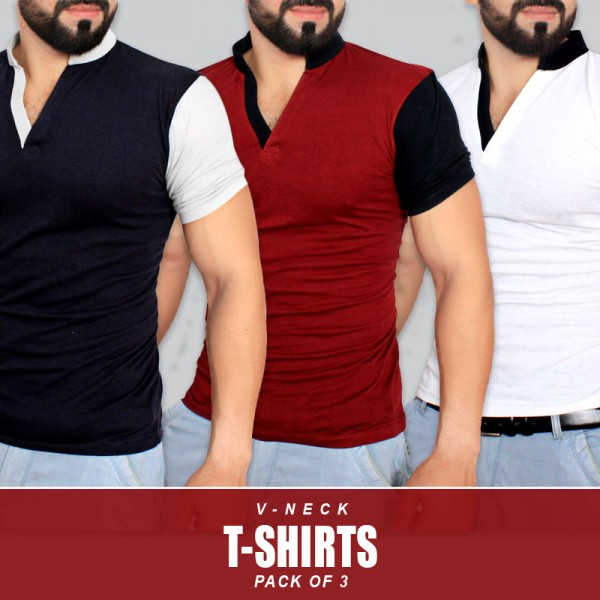 Pack Of 3 V-Neck Stylish T-Shirts RF-515