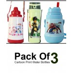 Pack Of 3 Cartoon Print Water Bottles