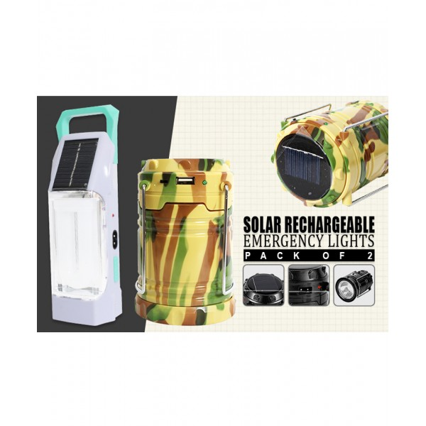 Pack Of 2 Solar Rechargeable Emergency Light SL-7011