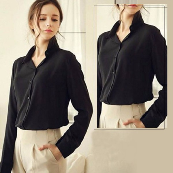 Black Elegant Shirts For Women