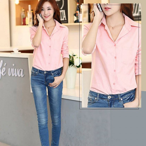 Pink Elegant Shirts For Womens