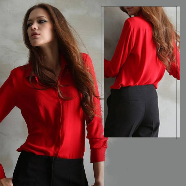 Red Elegant Shirts For Womens