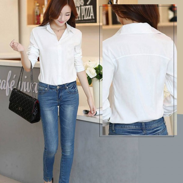 White Elegant Shirts For Womens