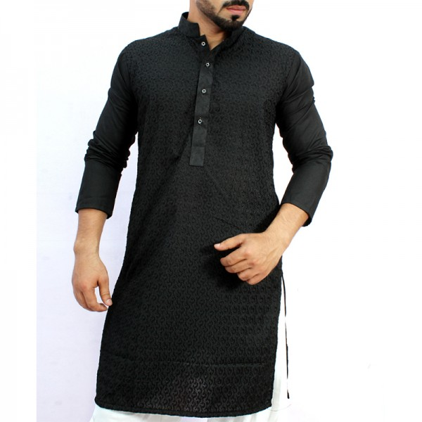 Black Chicken Embroidered Style Kurta ARK-847