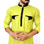 Green Stitched Flap Pocket Style Kurta Shalwar ARK-836