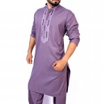Purple Neck Embroidered Style Kurta Shalwar ARK-845