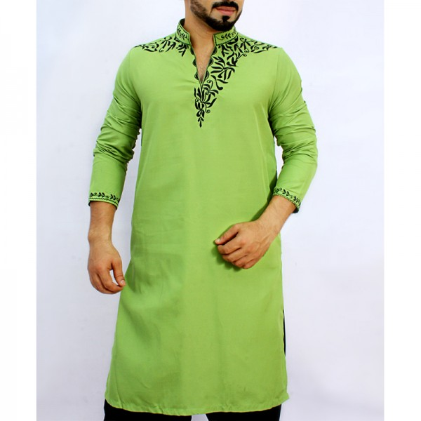 Sage Green Stylish Embroidered Kurta ARK-827