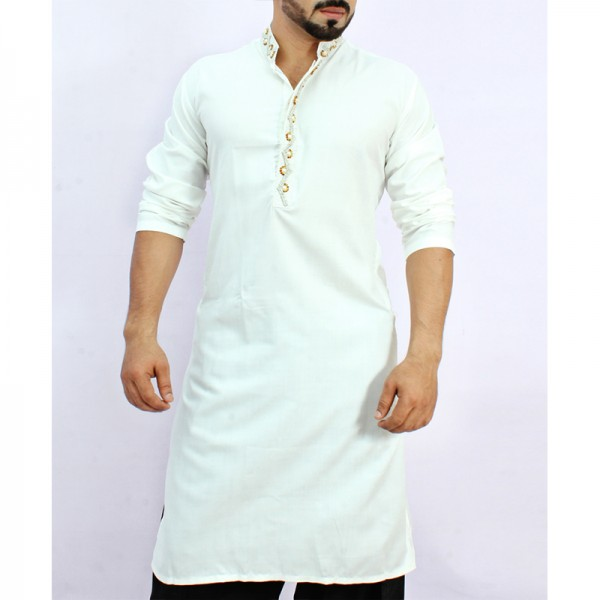 White Stylish Embroidered Kurta ARK-833