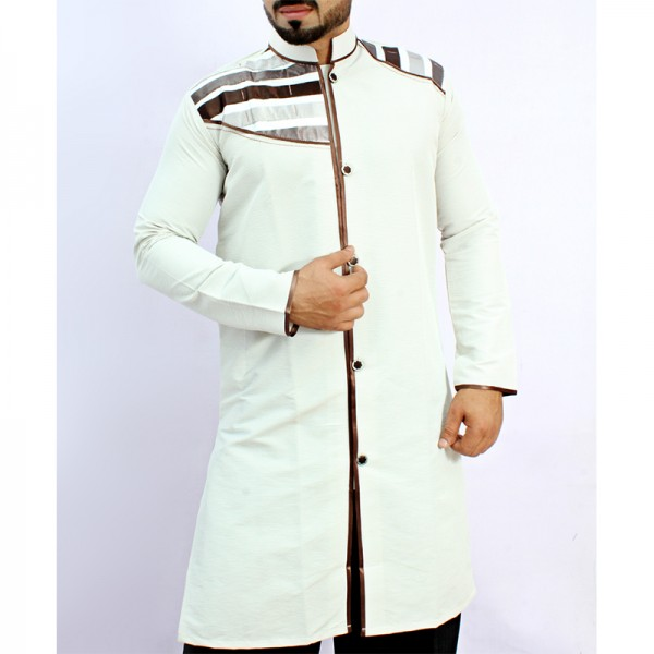 White Tipping Shoulder Front Open Kurta ARK-851
