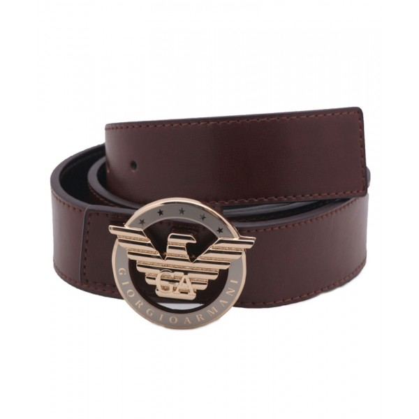 Brown Stitched Style Round Golden Buckle Belt SJ-125