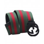 Red Green Dual G Shaped Black Buckle Belt SJ-141