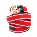 Red White Dual G Shaped Buckle Belt SJ-140