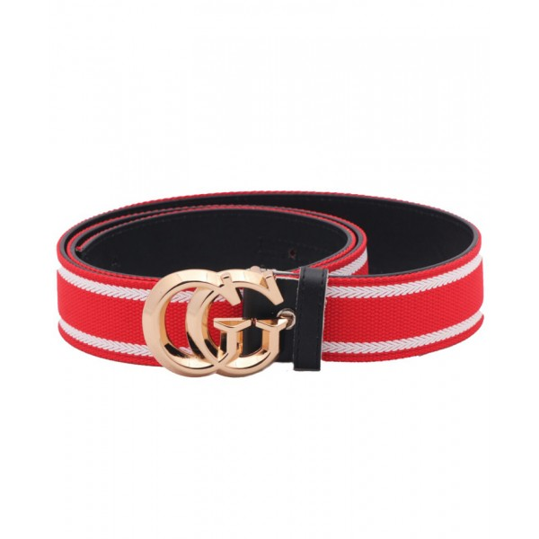 Red White Dual Shaped Golden Buckle Belt SJ-159