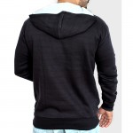 Cross Zipper Fleece Black Hoodie