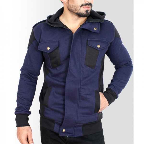 Navy Black Contrast Flap Pocket Style Fleece Hoodie