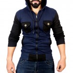 Navy Black Contrast Pocket Style Fleece Hoodie FS-2545