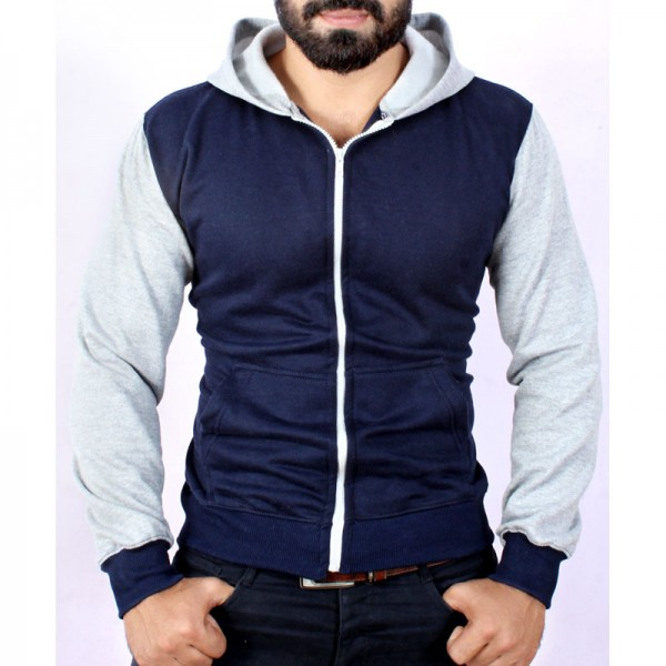Navy Grey Contrast Zipper Fleece Hoodie FS-2512