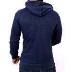 Navy Grey Tipping Pocket Style Fleece Hoodie FS-2542