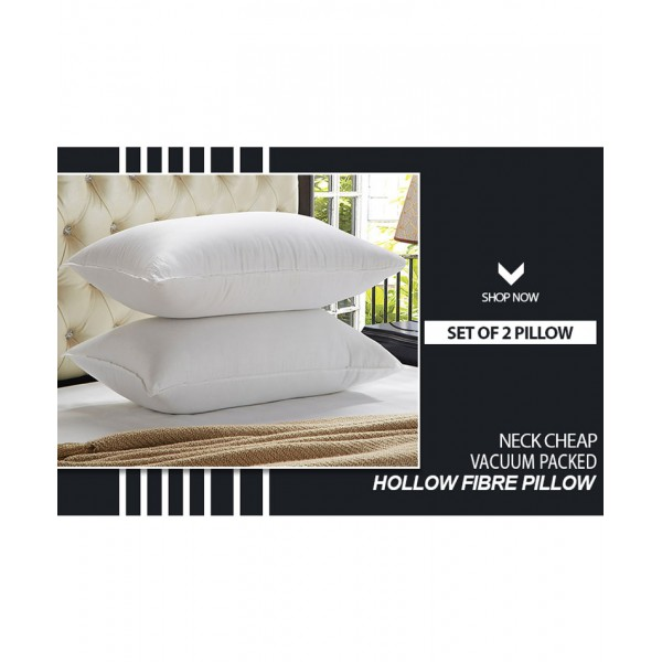 Set Of 2 White Hollow Fibre Vacuum Pillow