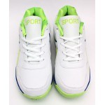 White Green Stitched Style Lace Up Sports Shoes DR-171