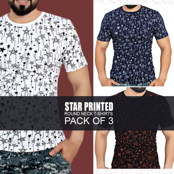 Pack Of 3 Star Printed Stylish Design T-Shirts BF-771