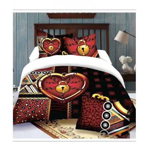 White Black Heart Design Cotton Bedsheet 7D-2002