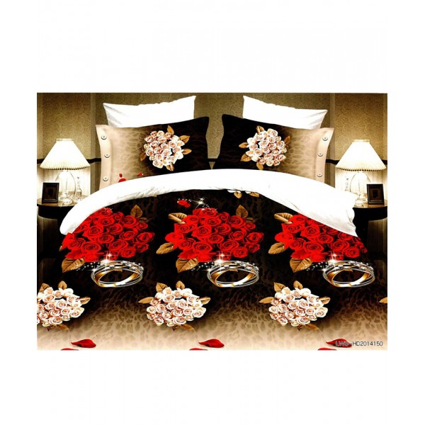 5D Brown White Roses Satin Bedsheet HD-326
