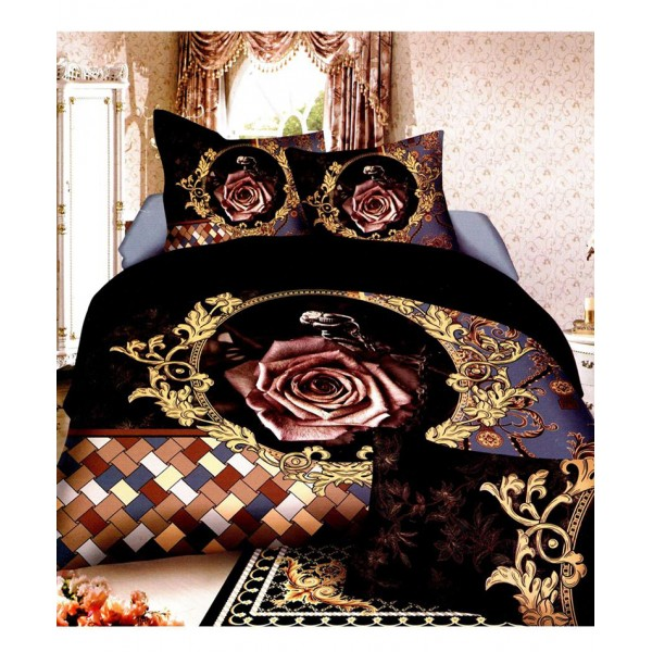 Prizma Black Floral Satin Cotton Bedsheet P-1002