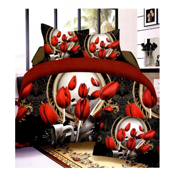 Prizma Black Red Floral Satin Cotton Bedsheet P-1009